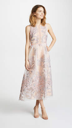 Marchesa Sleeveless Cocktail with Lace Trim