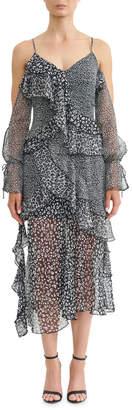 Asilio Animale Print Ruffle Dress