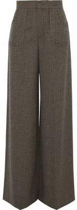 RED Valentino Eyelet-Embellished Houndstooth Wool Wide-Leg Pants