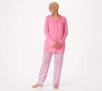 Carole Hochman Petite Batik Floral 3 Piece Pajama Set