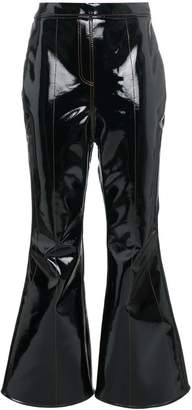 Ellery high waisted vinyl cropped flared trousers