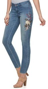 Women's Jennifer Lopez Embroidered Skinny Ankle Jeans $64 thestylecure.com