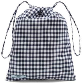 Gingham drawstring wash bag