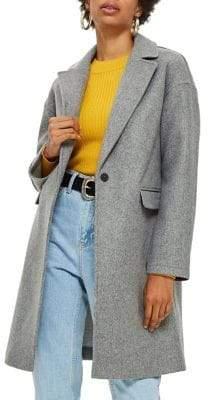 Topshop PETITE Relaxed Crombie Coat