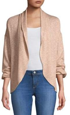 Highline Collective Metallic Puff-Sleeve Cardigan with Shawl Collar