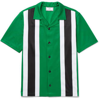 Ami Camp-Collar Striped Jersey Shirt