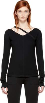 Helmut Lang Black Wool Strap Pullover