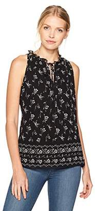 Max Studio Women's Sleeveless Printed Blouse With Tie Front