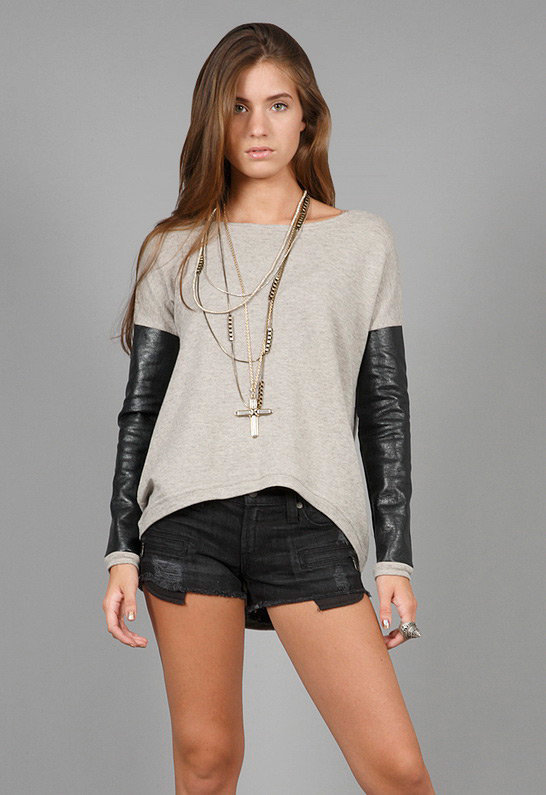 Bobo Leather Sleeved Sweatshirt in Grey - by Generation Love