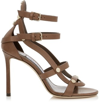 Jimmy Choo MOTOKO 100 Cacao Vachetta Leather Sandals with Gold Studs