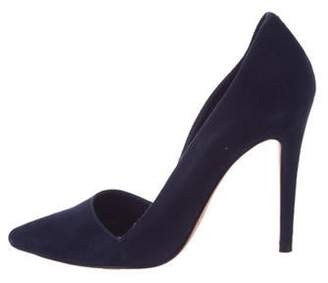 Alice + Olivia Suede Pointed-Toe Pumps Blue Suede Pointed-Toe Pumps