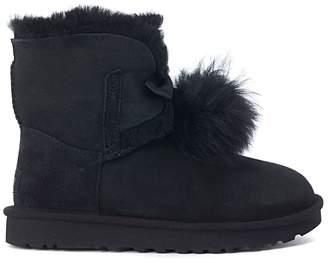 UGG Mini Gita Black Leather Boots With Pom Pom