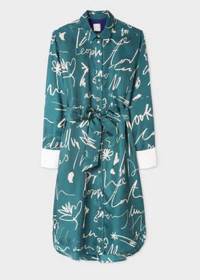 Paul Smith Women's Teal 'Ideas Script' Print Silk Shirt Dress