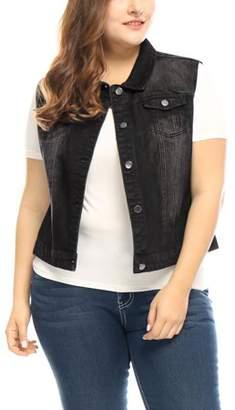 Unique Bargains Women Plus Size Chest Pockets Single Breasted Denim Vest Black 3X