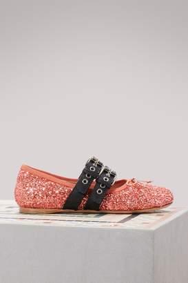 Miu Miu Glitter ballet pumps
