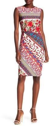 Chetta B Extended Cap Side Print Dress