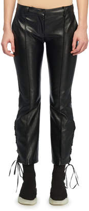 Stella McCartney Cropped Flare Lace-Up Side Faux-Leather Pants