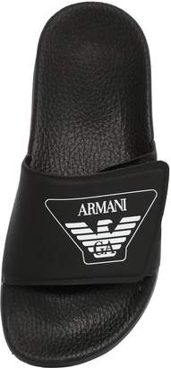 Armani Junior Logo Printed Rubber Slide Sandals