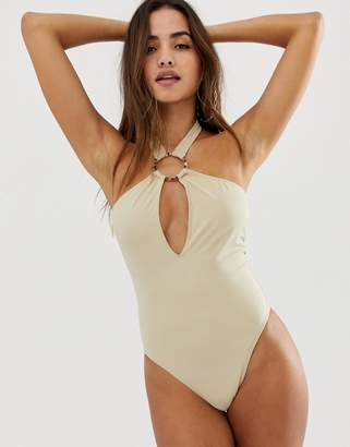 PrettyLittleThing ring detail halter neck swimsuit in nude