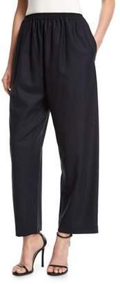 eskandar Japanese Wide-Leg Cropped Trousers, Navy