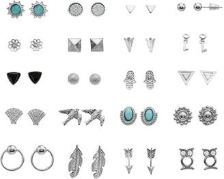 Mudd Silver Tone Simulated Stone & Crystal Leaf, Arrow & Bird Motif Nickel Free Stud Earring Set