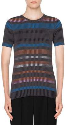 Akris Punto Short-Sleeve Fitted Striped Wool Sweater