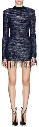 Balmain Women's Tweed Fitted Minidress - Blue