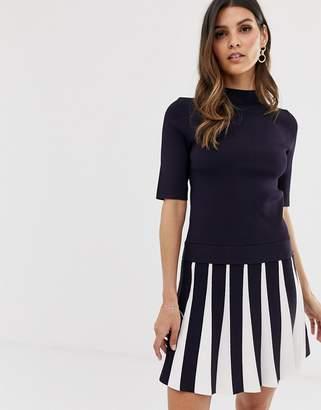 Ted Baker Hethia pleat skirt knitted skater dress