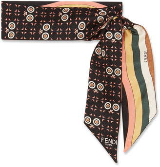Fendi - Reversible Printed Silk-twill Scarf - Black $200 thestylecure.com