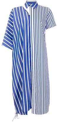 Facetasm asymmetric striped dress