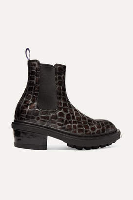 Eytys Nikita Croc-effect Leather Ankle Boots - Dark gray