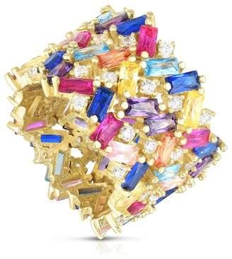 Chloé & Madison Yellow Gold Vermeil Baguette Cut Rainbow CZ Cluster Band Ring