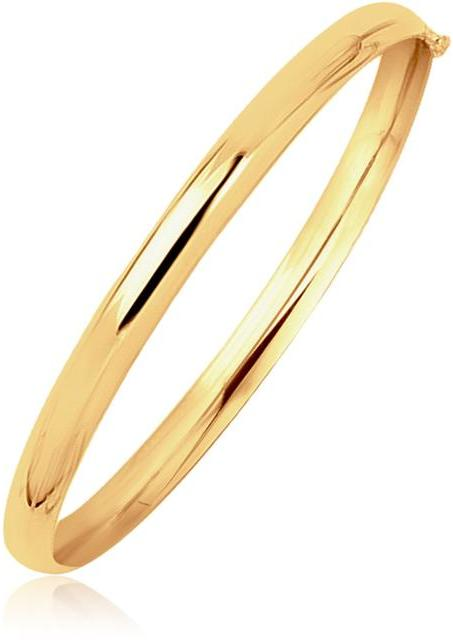 Ice 14K Yellow Gold Dome Design Polished Children's Bangle