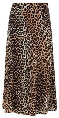 Ganni Blakey Leopard Print Silk Blend Skirt - Womens - Leopard