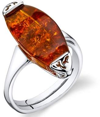 Oravo Baltic Amber Gallery Engagement Ring in Rhodium-Plated Sterling Silver