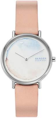 Skagen Signatur Stainless Steel Leather-Strap Watch
