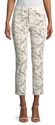 Rag & Bone Floral-Print Cigarette-Fit Cotton Cropped Pants