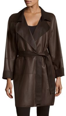 AkrisThrone Belted Leather Coat