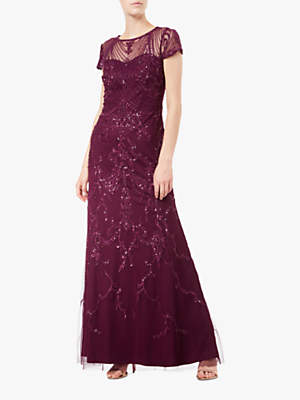 Adrianna Papell Beaded Tulle Maxi Dress, Cabernet