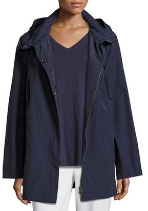 Eileen Fisher Nylon Jacket with Hood, Midnight, Petite $258 thestylecure.com