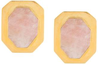 Liya rose quartz metal earrings