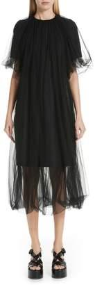 Noir Kei Ninomiya Tulle Overlay Wool Shift Dress