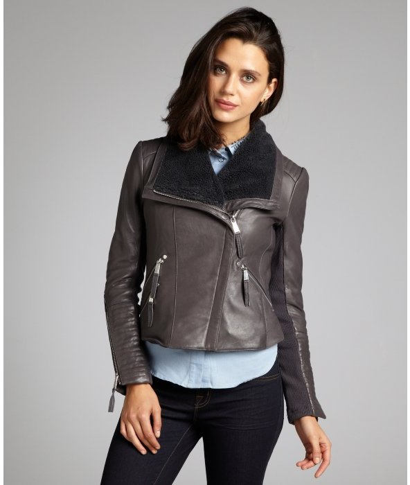 BCBGeneration grey leather sherpa collar knit sleeve asymmetrical zip cropped moto jacket