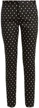 Giambattista Valli Slim-leg spot-jacquard twill trousers