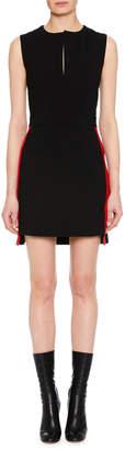 Alexander McQueen Sleeveless Side-Stripe Fitted Mini Wool-Blend Dress