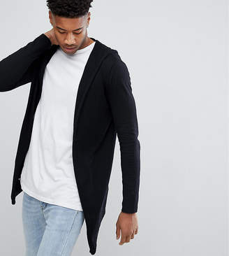 Asos DESIGN TALL Knitted Hooded Cardigan With Curved Hem In Black