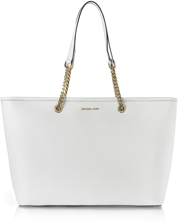 MICHAEL Michael Kors Michael Kors Jet Set Travel Chain Medium Optic White T/Z Saffiano Leather Multifunction Tote