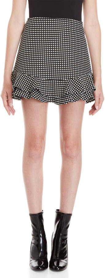 Necessary Objects Gingham Check Ruffle Skirt