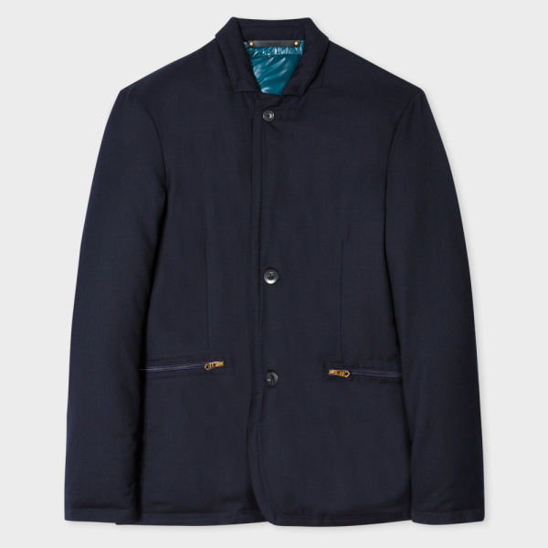 Paul SmithMen's Slim-Fit Navy Wool-Twill Down-Filled Tailored Travel Jacket