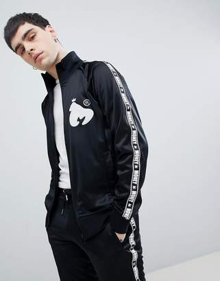 Money Stripe Tricot Track Top In Black With Back Print